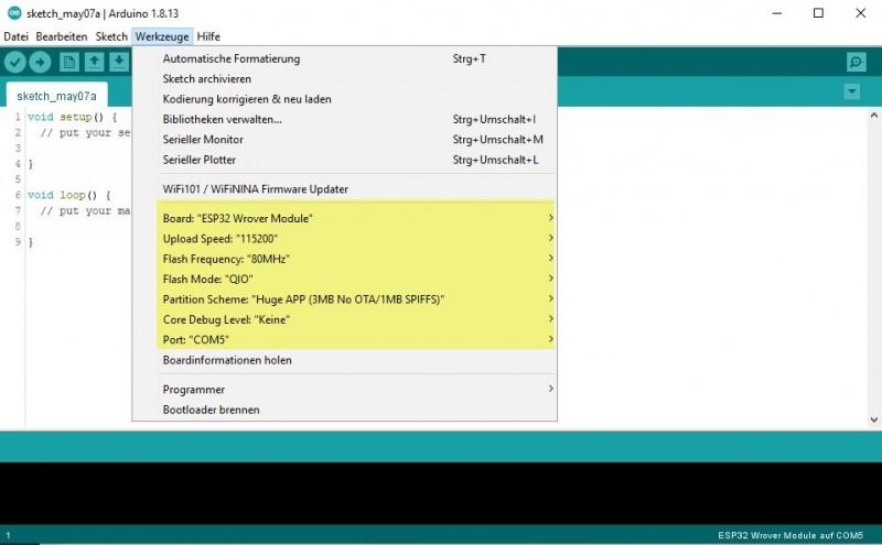 Ardunio IDE - ESP32 Board Einstellungen