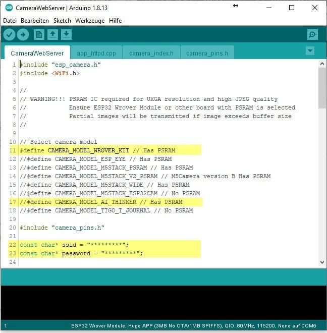 Arduino IDE - ESP32-CAM CameraWebServer