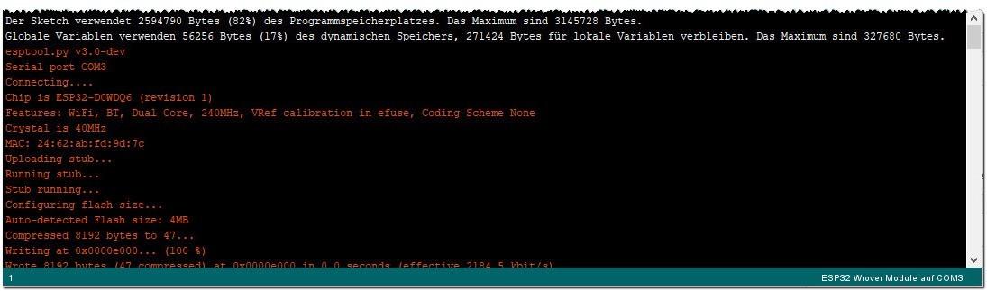 Arduino IDE - Start des Flashvorgangs