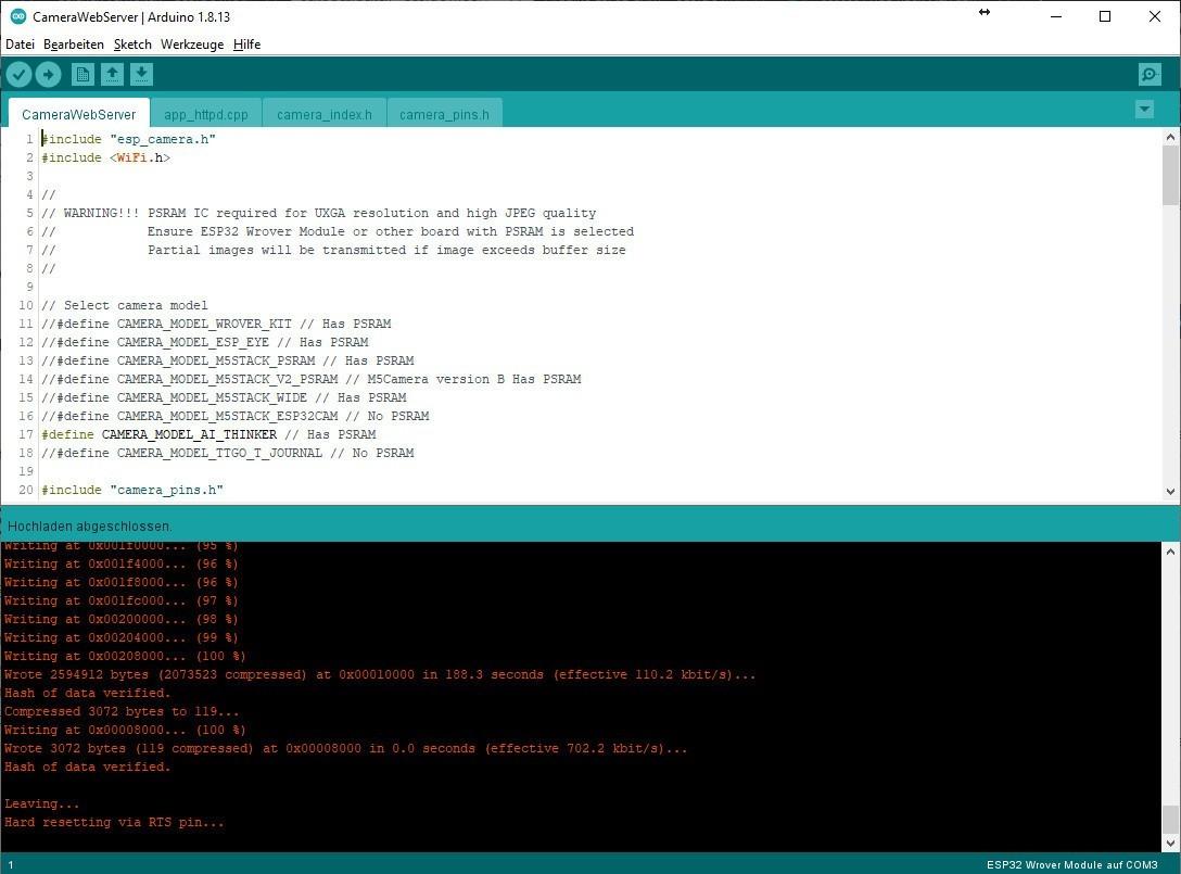 Arduino IDE - Ende des Flashvorgangs